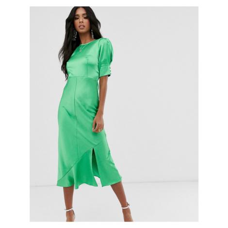 ASOS DESIGN bias midi dress with puff sleeves in satin