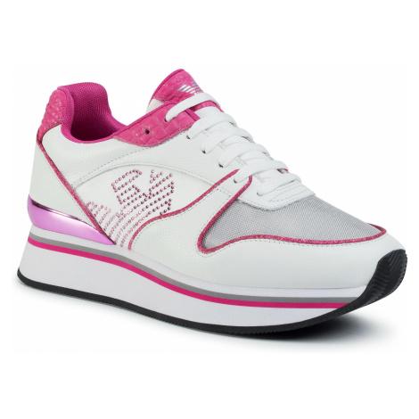 Sneakersy EMPORIO ARMANI - X3X046 XM308 R785 White/Silv/Whi/Pink