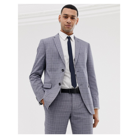Esprit slim fit suit jacket in grey pop glenn check