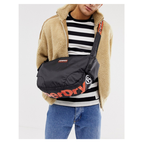 Superdry side messenger bag in black