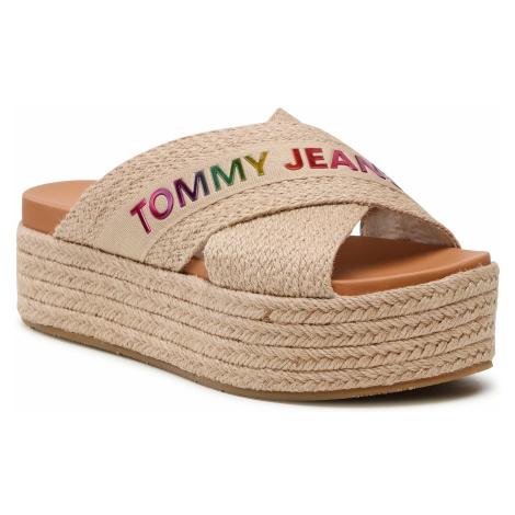 Espadryle TOMMY JEANS - Rainbow Branding Mule Flatform EN0EN01313 Natural Rope 0F4 Tommy Hilfiger