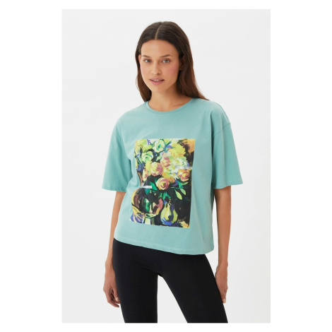 Trendyol Mint Printed Loose Knitted T-Shirt