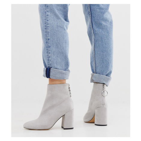 London Rebel wide fit high block heel boots in grey