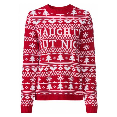 Fashion Union Sweter 'NAUGHTY' czerwony
