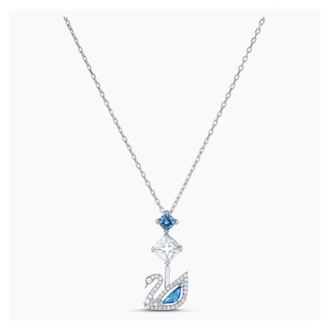 Naszyjnik Dazzling Swan, niebieski, powlekany rodem Swarovski