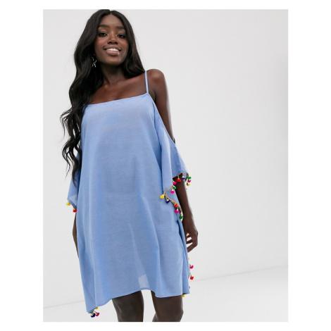Anmol blue beach dress with pom pom trim