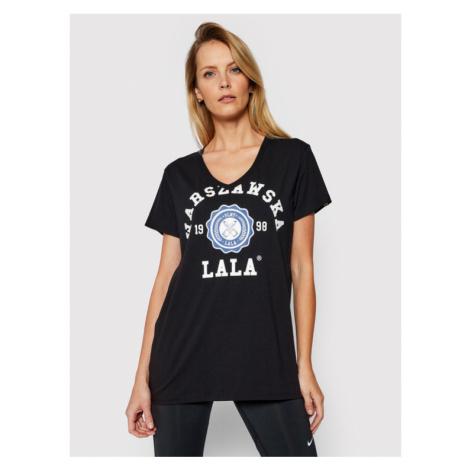 PLNY LALA T-Shirt Warszawska Lala PL-KO-VN-00098 Czarny V-Neck Fit