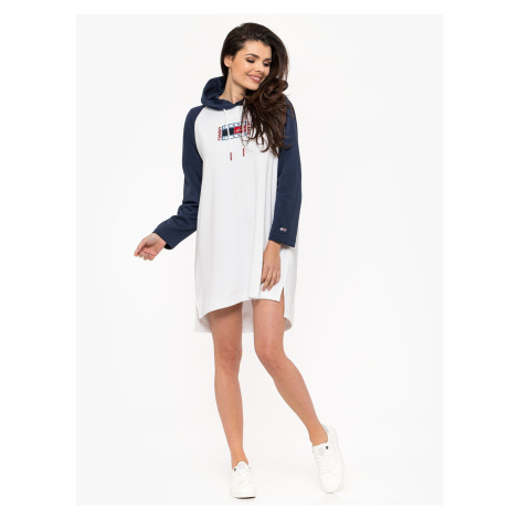 """Tommy Jeans """"Timeless Flag Hoodie Dress"""" White Tommy Hilfiger"""