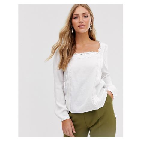 Vila lace trim square neck blouse