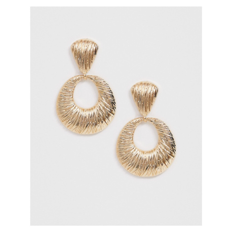 ASOS DESIGN earrings in engraved texture open circle drop design in gold tone