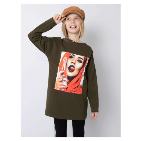 Khaki tunic for a girl in cotton