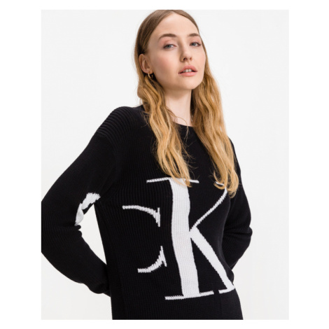 Calvin Klein Sliced Oversized Sweter Czarny