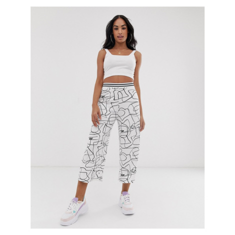 ASOS DESIGN culotte trouser in non-print with sporty elastic waistband