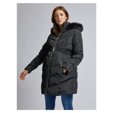 Black Winter Quilted Maternity Coat with Artificial Fur Dorothy Perkins Maternity