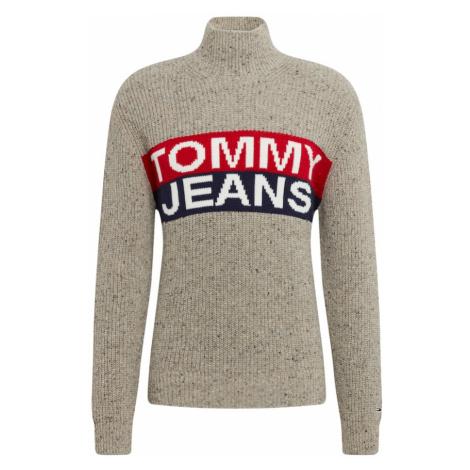 Tommy Jeans Sweter szary dym / czerwony / niebieski Tommy Hilfiger