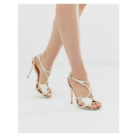 Ted Baker ivory satin bow detail heeled sandals