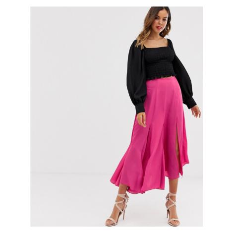 ASOS DESIGN asymmetric floaty midi skirt with godet inserts