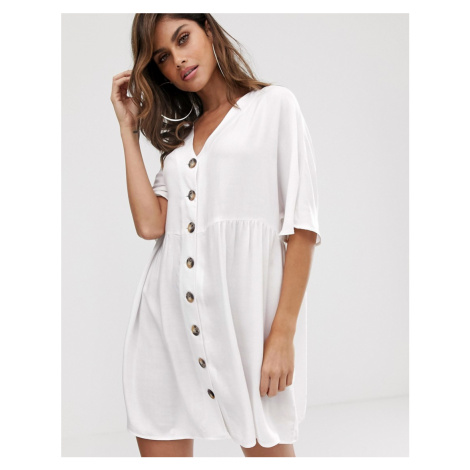 ASOS DESIGN v neck button through mini smock dress