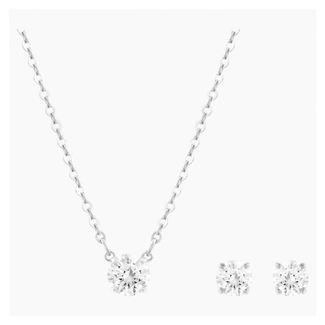 Set Attract Round, bianco, Placcatura rodio Swarovski