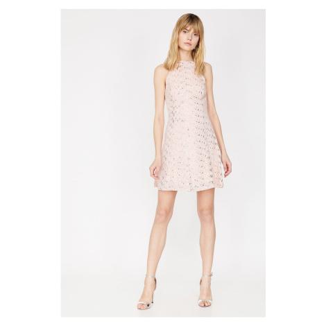 Koton Damska różowa kurtka szyi midi sukienka midi z krótkim rękawem
