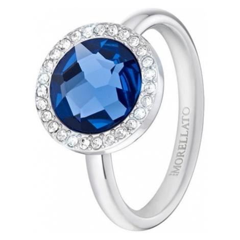 Morellato stalowy pierścień z niebieskim krystalicznie Essenza SAGX15 (obwód 56 mm)