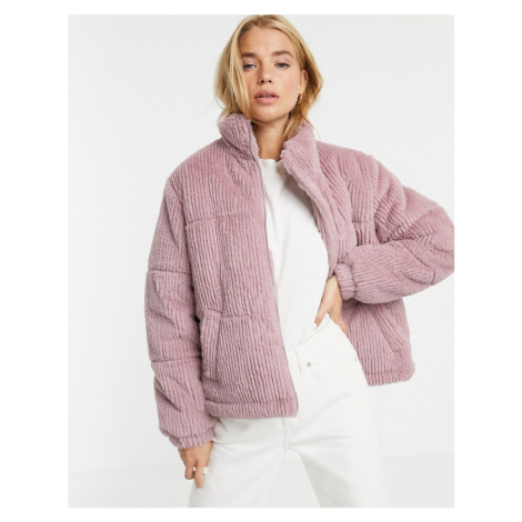 New Look faux fur cord puffer jacket in light pink