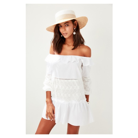 Trendyol Ecru Cotton Carmen collar Beach dress