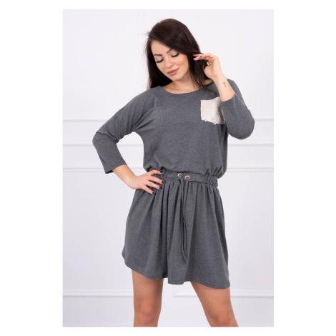 Sukienka wiązana w talii z cekinową kieszenią grafitową S/M-L/XL
