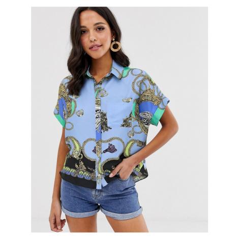 River Island short sleeve shirt in scarf print