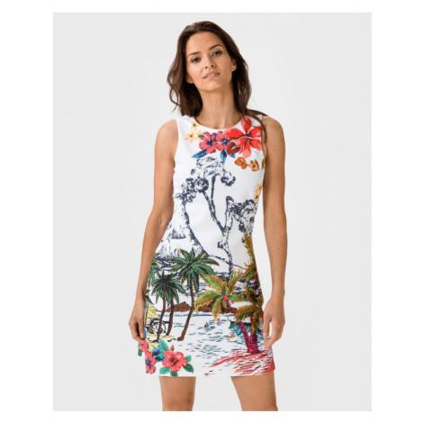 Desigual Hawaii Sukienka Biały Wielokolorowy