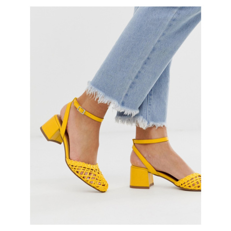 ASOS DESIGN Sergeant woven mid heels in yellow
