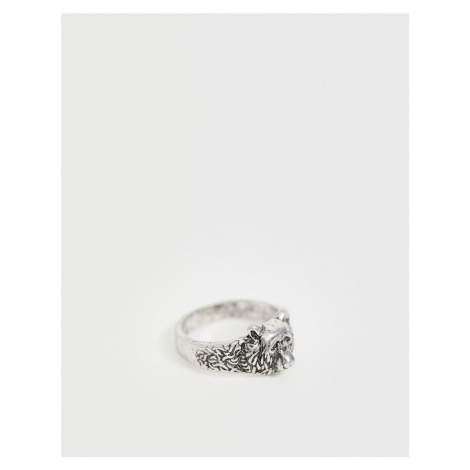 ASOS DESIGN bear ring in burnished silver tone