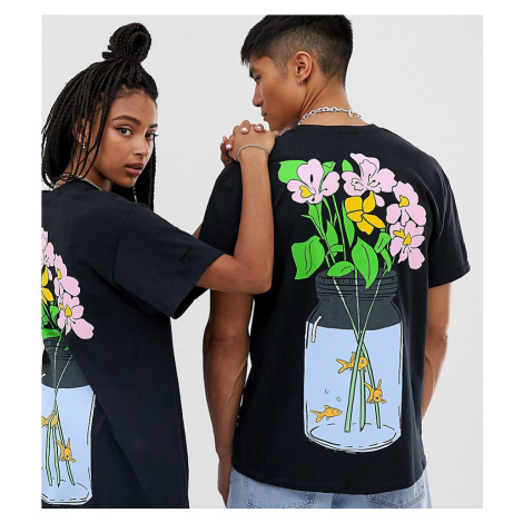Crooked Tongues unisex oversized t-shirt with back flower print
