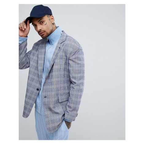 ASOS DESIGN Oversized Blazer In Blue Seersucker Check