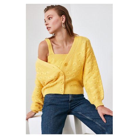 Trendyol Yellow KnitTed Detailed Blouse - Cardigan Knitwear Suit