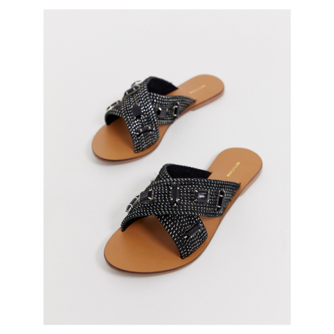 PrettyLittleThing flat sandals with embellishment in black