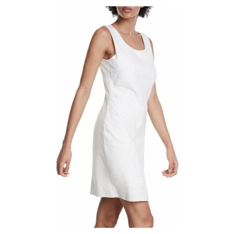 Desigual biała sukienka Vest Houston z koronką