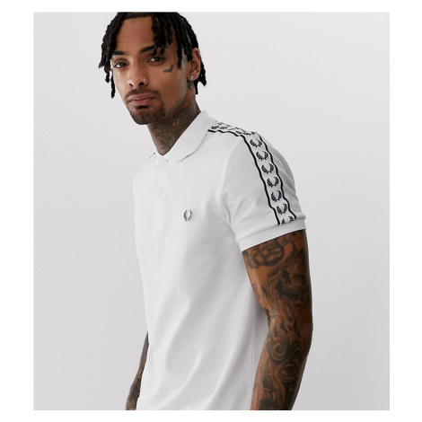 Fred Perry taped sleeve polo in white Exclusive at ASOS