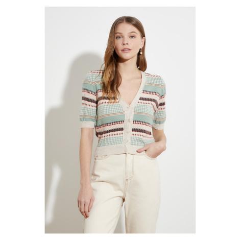 Sweter z dzianinową Trendyol Mint Jacquin