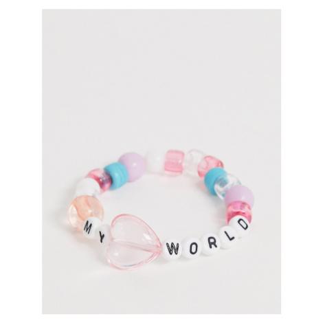 ASOS DESIGN stretch bracelet with letter plastic beads