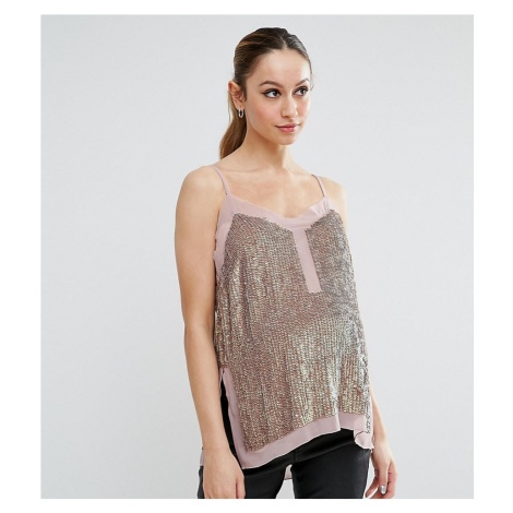 ASOS Maternity PETITE Sequin Cami Top with Sheer Insert