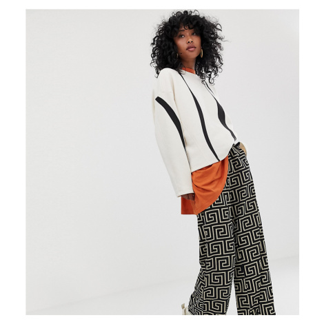 Weekday wide leg trousers with geometric roman print