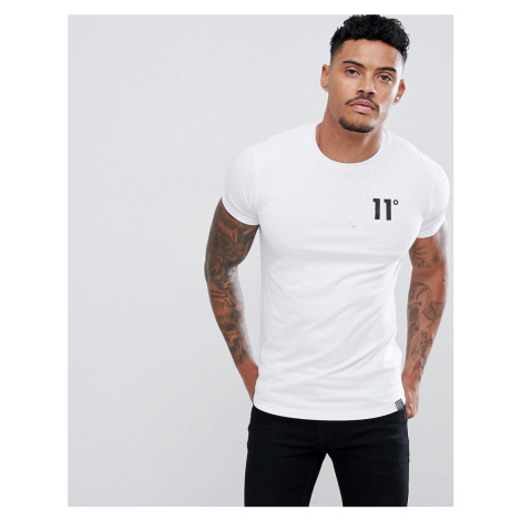 11 Degrees muscle fit t-shirt in white with logo