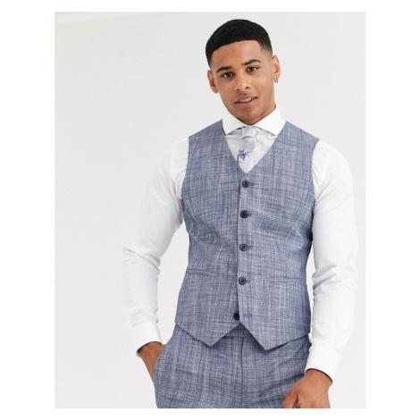 ASOS DESIGN wedding super skinny suit waistcoat in dark blue crosshatch