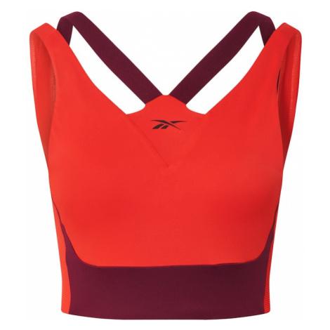 REEBOK Biustonosz sportowy pomarańczowo-czerwony / ciemnofioletowy