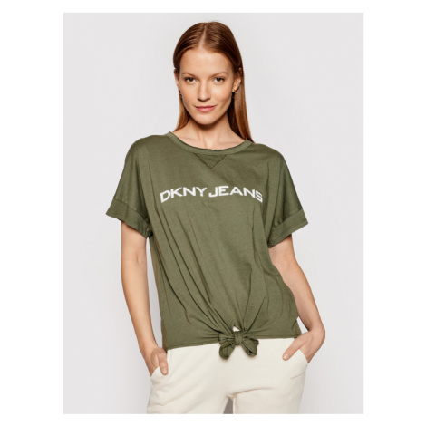 DKNY T-Shirt E02Z2F51 Zielony Regular Fit