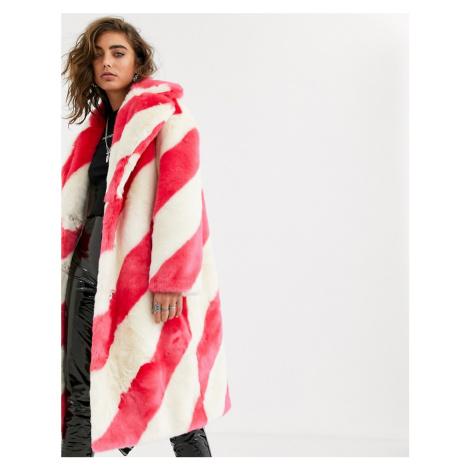 Jakke long coat in faux fur candy stripe