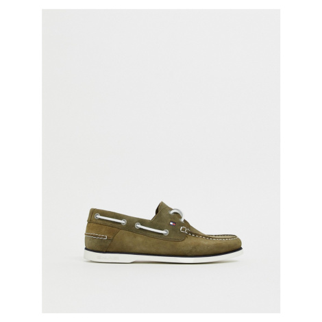 Tommy Hilfiger suede boatshoe with contrast laces in olive