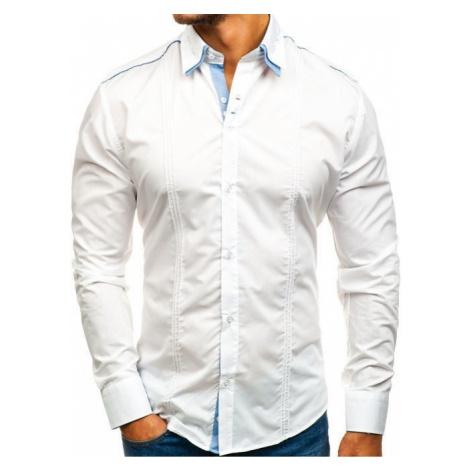 Koszula męska elegancka z długim rękawem biała Denley 4780