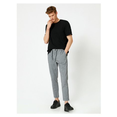 Koton Men's Gray Tapared Fit Cotton Waist Baggy Trousers